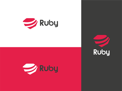 Ruby logo redesign redesign concept programming language ruby red marketing branding logo vector graphic design design illustrator