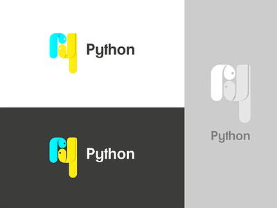 Python logo redesign programming language python blue branding logo vector graphic design design illustrator