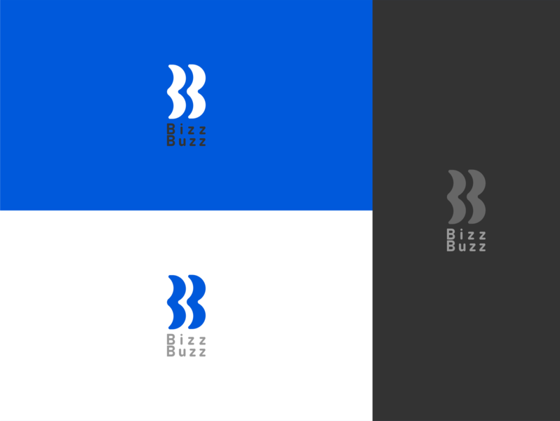 bizzbuzz logo blue marketing branding logo vector illustrator design graphic design