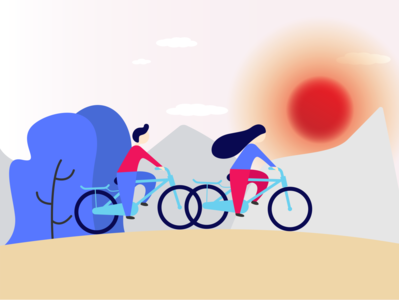 Flat illustration exploration cycling illustration vector illustrator design graphic design