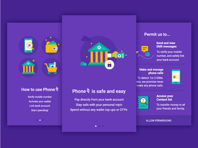 Onboarding illustration - PhonePe bank transaction money illustrations ui app screen ftue onboarding
