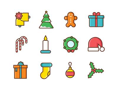 Christmas Icons icons illustration season gifts merry snow santa festive winters christmas