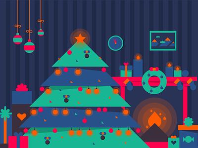 Almost Christmas! christmas tree fireplace icons illustration season gifts merry snow santa festive winters christmas