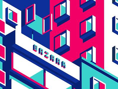 Neighbourhood geometric window minimal highlight infrastructure home bazaar building isometric perspective architecture