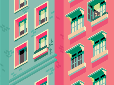 Perspective Distortion geometric window minimal highlight infrastructure home bazaar building isometric perspective architecture