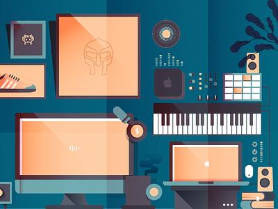 Sethi's Workspace music composition vector workspace mac desktop illustration