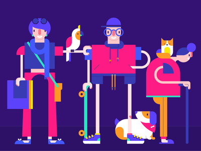Pets and people girl boy geometric young old cat macaw dog human character people