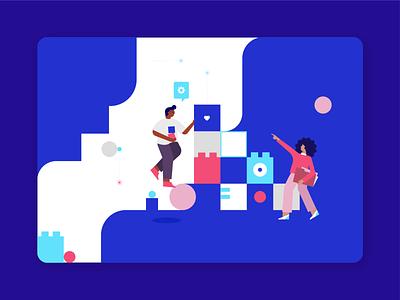 Atlan Building Blocks illustrator product data building blocks people home vector ui illustration