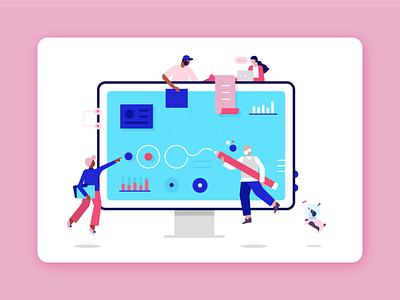 Atlan Workflows visualization illustrator atlan data design platform canvas work people vector ui illustration