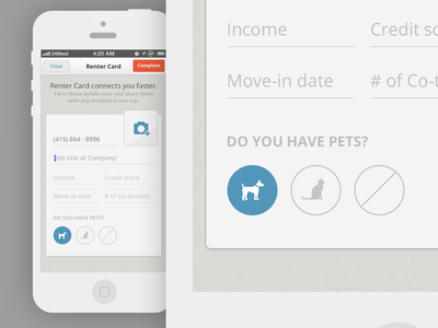 Renter Card update livelovely lovely renter card renter card ios mobile iphone app application design light