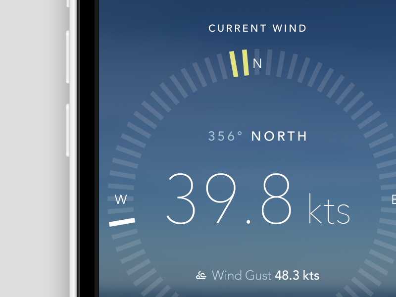 Anemometer screen ios design ui avenir ux wind anemometer compass knots gust direction north