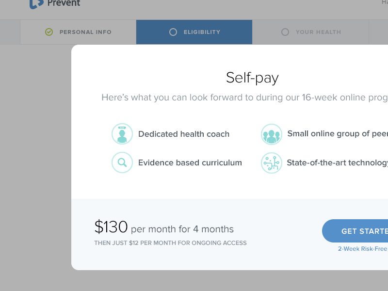 Modal iteration web design ui ux form modal call to action health