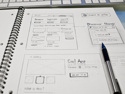 App gallery sketch web ui sketch wireframe dot grid book pencil design