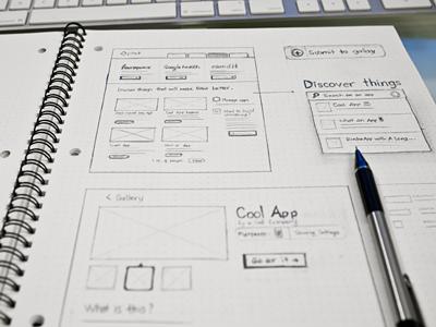 App gallery sketch web ui sketch wireframe dot grid book pencil design
