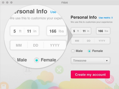 Personal Info web ui form form elements custom design button inline inline label info radio field personal input css3 html5