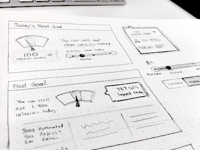 Food Goal Sketch food goal ui ux sketch wireframe web mobile dashboard iphone ios interface dial dot grid book
