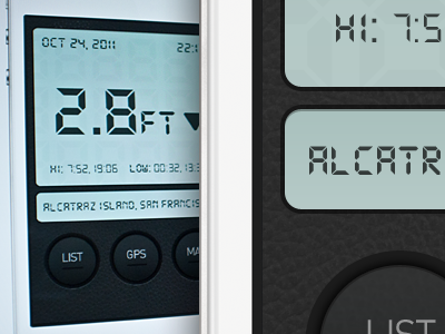 Tide App — WIP iphone app ios ios5 tide sea current lcd leather texture pattern design ui ux mobile button
