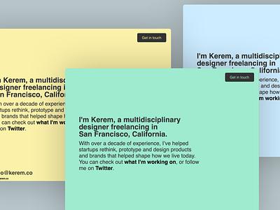 kerem.co 6.0 hi mom tachyons colors pastel one page landing splash interim design web
