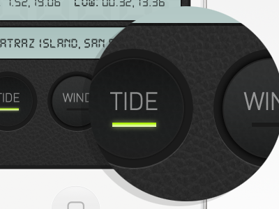 Tide app buttons mobile iphone ios ios5 buttons leather texture pattern lcd sailing tide wind map app design ui ux