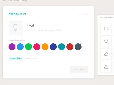 Add Team Dialog, empty icon pills color picker design ux ui spoke team modal dialog web