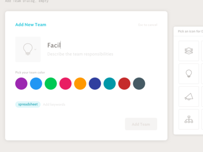Add Team Dialog, empty icon pills color picker design ux ui spoke team modal dialog web