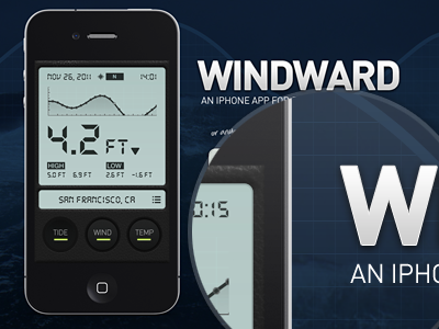 Windward app landing page chart graph button ios5 ios pattern texture leather temperature ocean wind tide display digital texas lcd din open sans design mobile app iphone video background web fonts ux ui web html5 css3 iphone