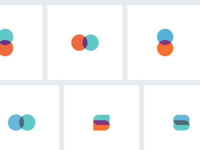 Logo explorations circle shapes overlap dual colors logo
