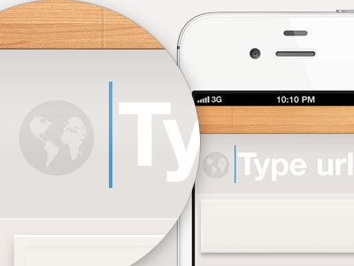 Type URL ui ux design ios iphone ios5 form field text button minimal wooden texture pattern lighting wood