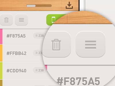 Detail screen button colors slider drag drop cubes adobe ui ux design ios iphone ios5 minimal wooden texture pattern lighting wood