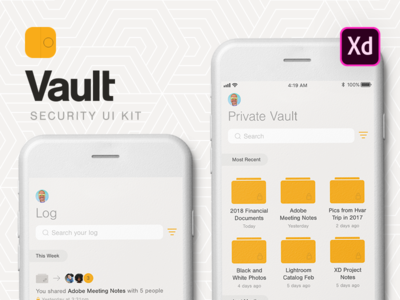 Vault UI Kit (Adobe XD) typography app ios file-sharing xd adobe kit ui vault
