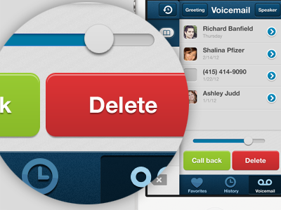iPhone UI - Side pocket voicemail iphone ui ux side pocket voicemail text button texture