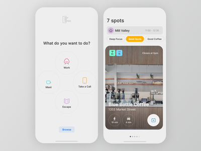 OOO Early Explorations 0.01 button minimal iphone card ios 12 search user interface ios