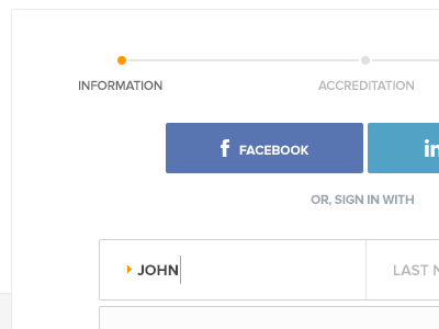 Join Step 1 web ui ux product login join signup facebook linkedin information accreditation form edge john