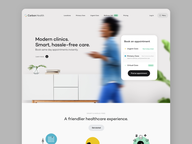 Carbon Health Homepage health care healthcare app healthcare carbon health typography branding illustration form button minimal ux web design ui