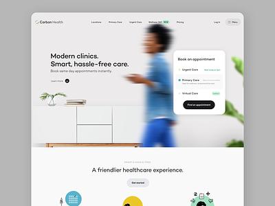 Carbon Health Homepage health care healthcare app healthcare carbon health typography branding illustration form button minimal ux web design ui