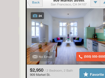 Listing Detail minimus price minimal helvetica tag filter ios mobile lovely iphone app design ui ux clean apartment search alerts