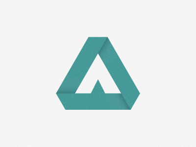 """A"" logo monogram origami triangle a shape ribbon personal letter aldrich tan texture grain shadow aldricht"