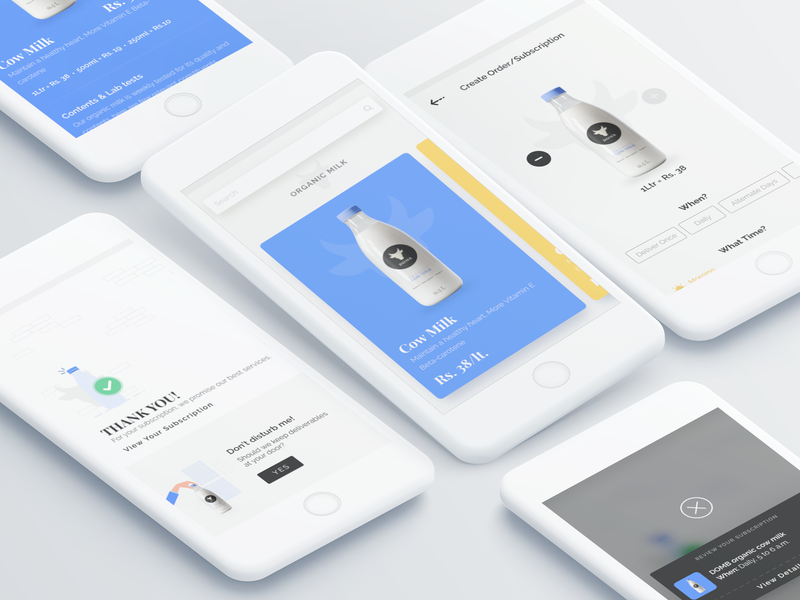 DOMB- organic milk delivery app ios app branding design minimalistic illustration