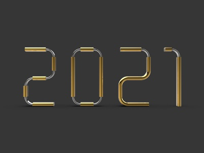 2021 gold silver 3d artist 3d modeling 2021 trend golden 3d new year happy new year 2021