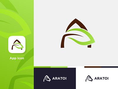 ARATOI logotype lettermark tree logo a tree a logo a logomak a icon apps icon ui