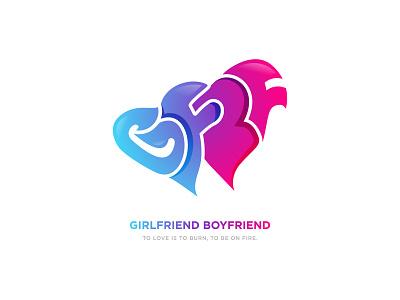 Girlfriend Boyfriend gradient vector custom fonts illustration branding lettermark logomark bf logo love logo coustom font lover logo design gf bf bf gf