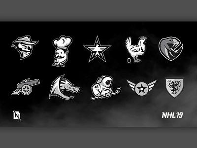 EA NHL 19 - 30 Create-A-Team Logos sports design logo redesign logo design hockey branding redesign sports graphic design freelancer ahl design branding design logo branding