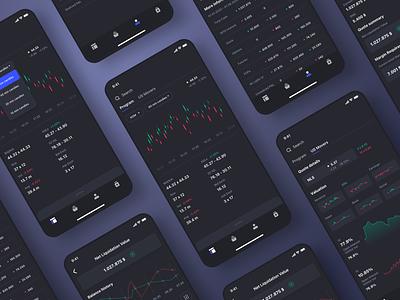 Trading Platform Mobile App userinterface minimal concept ui design dailyui uidesign dark ui dark mode mobile app design mobile app mobile ui apple ios app bank bitcoin traiding