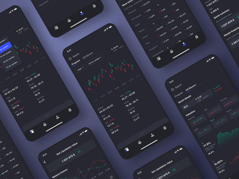 Trading Platform Mobile App userinterface minimal concept ui design dailyui uidesign dark ui dark mode mobile app design mobile app mobile ui apple ios app bank bitcoin traiding
