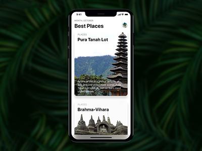 Best Places ios 11 nature userinterface uidesign apps design ui holidays world bali iphonex