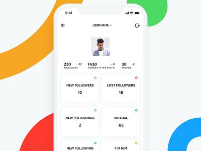 Statistics insta instagram mobile app mobile interface white color sketch app minimal user user account ios ui design ux design app ui