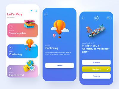 TravelTrivia | Quiz design mobile clean design ios minimal score app mobile app game ui game app game quiz trivia