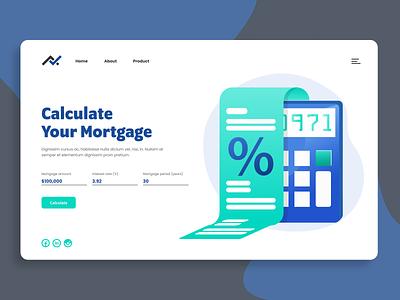 Mortgage Calculator – Daily UI 004 landingpage loan mortgage uidesign dailyui004 calculator illustration ux ui