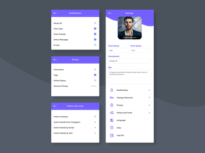 App Settings – Daily UI 007 dailyui007 dailyuichallenge ui layout product design ux figma app settings ui