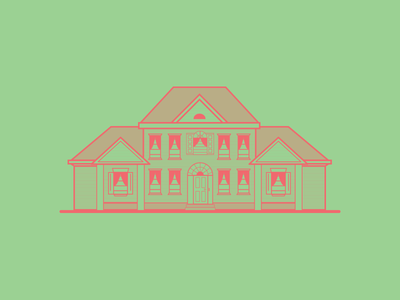 Colonial Mansion  colonial illustration line art mansion house